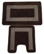 2 Piece Luxury Absorbent Non Slip Bath Mat Set Trellis Border