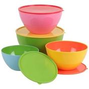 Set of 4 Salad Bowls/salad bowl plastic mixing bowl with lid Cook bowl fruit bowl Storage Bowls