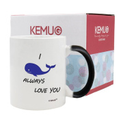 KeMug - Colour Changing Mugs Black - 330ml Coffee Cups - I whale, will always love you, I will - Perfect for birthday, men, women, dad, mom or friend