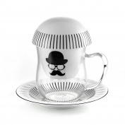 E-my Chapeau Set TeaFlower Tea Infuser, Porcelain, Borosilicate Glass, Multicolor