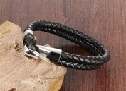Men Bracelet,Mens Leather Bracelet,Mens Bracelet with Stainless Steel Clasp Black Leather Bangle Cuff Rope Men's Bracelet Charm Wristband Jewellery Fashion Jewellery