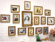 NAUY- 15 Frame Gold Box Solid Wood Frame Wall European Retro Nostalgic Office Creative Photo Wall Photo Wall Combination DIY Wild Living Room Dining Room Bedroom Frame Wall