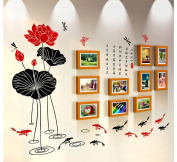 NAUY- 10 Box Simple Modern Living Room Sofa TV Wall Decoration Creative Wood Frame Wall Photo Wall Stickers DIY Wild Living Room Dining Room Bedroom Frame Wall