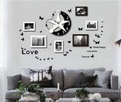 NAUY- Creative Personality Wall Clock Living Room . Clock Clock Photo Wall Modern Photo Frame Photo Wall Mute Bedroom Hanging Watch Creative Photo Frame Combination DIY Decoration