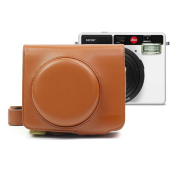 PU Leather Case for Camera Leica Sofort Camera Bag in Brown Colour with Shoulder Strap