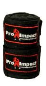 PRO IMPACT Boxing/MMA Handwraps 460cm Mexican Style Elastic 1 Pair BLACK