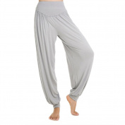 Gleader Women Ladies Solid Harem Yoga Sport Flare Modal Pant Belly Elastic Waist Dance Club Boho Wide Leg Pants Loose Long Trousers-Grey,L