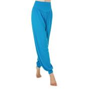 Gleader Women Ladies Solid Harem Yoga Sport Flare Modal Pant Belly Elastic Waist Dance Club Boho Wide Leg Pants Loose Long Trousers-Blue,XXL