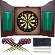 Walnut Finish Deluxe Wood Dartboard Cabinet Set - Includes 6 Darts!