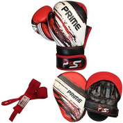 Adult boxing gloves training set focus pad mitts MMA hand wraps red Set-46