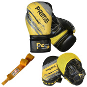 Adult boxing gloves training set focus pad mitts MMA hand wraps Yellow Set-47