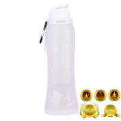 Tigèr 500ml BPA Free Silicone Foldable Sport Water Bottle Reusable For Walking Riding Joggers Picnics Hiking Camping by 17fl - Clean x 1