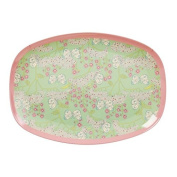 Rectangular Melamine Plate with Butterfly and Flower Print by Rice DK