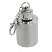 Stainless Steel Clip Hook Pocket Flask 30ml Capacity Silver Tone