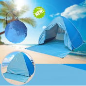 With Zipper Door Pop Up Canopy Portable Beach Tent Outdoor Anti UV Beach Shade Tent Sun Shelter, Automatic Instant Family Cabana for Camping Beach Fishing Garden