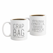 Princess Consuela Banana Hammock & Crap Bag Couples Funny Coffee Mug Set 330ml - Inspired By Friends TV Show Quote - Unique Gift For Boyfriend and Girlfriend - His and Hers Anniversary Present