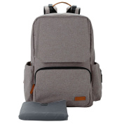 Lekebaby Baby Nappy Changing Backpack with Chaning Mat Unisex for Mom and Dad, Grey
