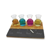 Commichef Novelty Party Game Cocktail and Shot Glasses with Holder, and Chalk, 4 Piece Set, Slate