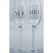 10th Tin Wedding Anniversary gift Pair of Glasses