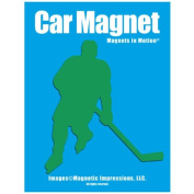 Ice Hockey Player Male Car Magnet Green
