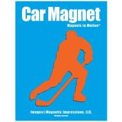 Ice Hockey Player Male Car Magnet Pose 3 Orange