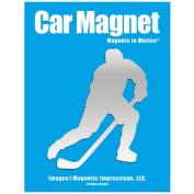 Ice Hockey Player Male Car Magnet Pose 3 Chrome