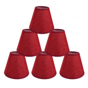 ONEPRE Lamp Shades Red Colour Clip on light shades Candle Lampshades for Chandelier Ceiling Pendant Light, Set of 6