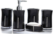 Yiyida 5 pieces stunning bathroom accessories set in 4 lovely colours Acrylic and rhinestone ,Black