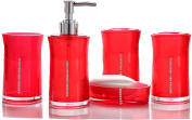 Yiyida 5 pieces stunning bathroom accessories set in 4 lovely colours Acrylic and rhinestone ,Red