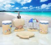 Yiyida Creative Resin Bathroom Set 5pcs in Sea Beach Style Tumbler Soap dish Soap Dispenser Toothbrush holder