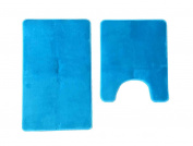 maiija Non-slip Embossed Memory Foam Contour Bathmat Set (50cm x 60cm +50cm x 60cm )_Solid Teal Blue