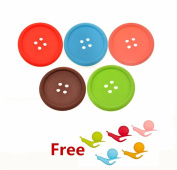 MAXGOODS 5-Pack Button Coaster Silicone Cup Holder Mat ,WITH 5 FREE Tea bag holder