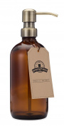 Amber Glass Bottle Soap and Lotion Dispenser with Brass Pump - 470ml - by Jarmazing Products