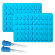 Rurah 50 Grid Silicone Gummy Bear Candy Chocolate Mould With Dropper Making Cute Gift Blue 2 Pack