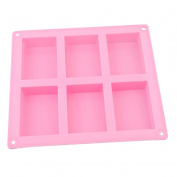 Rurah 6 Cavity Plain Basic Rectangle Silicone Mould 6 Grid Homemade Craft Soap Mould For Cake Mould
