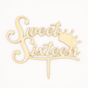 Sweet Sixteen 16 Wooden Cake Topper Birthday Party Decoration