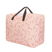 Millya Oxford Reusable Waterproof Clothes Quilt Large Zipper Laundry Storage Bag,Pink