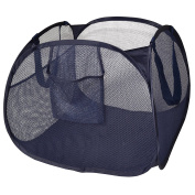 PRO-MART DAZZ Deluxe Mesh Pop Up Square Laundry Hamper with Side Pocket and Handles, Blue