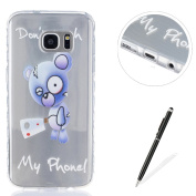 Samsung Galaxy S7 Edge Case,Samsung Galaxy S7 Edge Silicone Cover,Feeltech MAGQI [Crystal Clear] Soft Ultra Thin Gel TPU Bumper Case Non-slip Grip Protection Cover Shockproof Drop Protection with Cute Cartoon Pattern Design Transparent Flexible Rubber ..