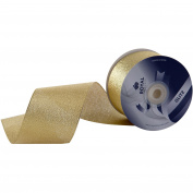Metallic (Glitz) Gold Fabric Ribbon 7cm (#40) For Floral & Craft Decoration, 25 Yard Roll (23m Spool) By Royal Imports