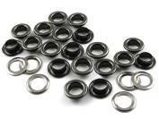 CRAFTMEmore 0.6cm Hole Size 100 Sets Gunmetal Black Metal Grommets Eyelets with Washers For Bead Cores, Clothes, Leather, Canvas