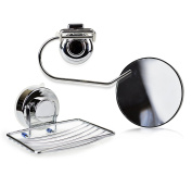 Shower set of stainless steel suction holder - includes magnifying mirror, sponge holder shower, and towel rack