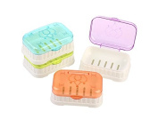 Cindy & Will 4Pcs Drained Body/Face/Washing/Laundry/Hand Soap Covered Rectangular Plastic Dish/Holder/Rack/Box/Organiser/Saver, Assorted Colour