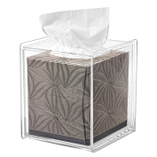 Square Clear Acrylic Bathroom Tissue Box Cover and Napkin Dispenser Holder
