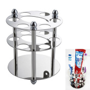 Stainless Steel Toothbrush Holder Stand Toothpaste Organiser Round Bathroom