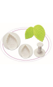 O'Creme Veined-Rose-Leaf Plastic Plunger Cutters - 3 Different Sizes, 1 Each