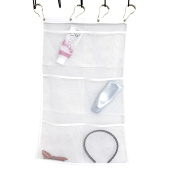 HUELE Quick Dry Hanging Caddy and Bath Organiser with 6-pocket, Hang on Shower Curtain Rod / Liner Hooks, Shower Organiser, Mesh Shower Caddy, Save Space in Small Bathroom Tub with 4 Rings