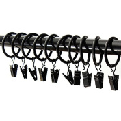 24PCS Metal Drapery Shower Curtain Rings with Clips Wire Hanging Hook