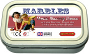 Marble shooting games. Marbles, mat & book in a tin
