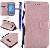 FESELE Samsung Galaxy J7 2015 Case PU leather Cover with Sunflower Embossing Design PU Leather Bookstyle Wallet Case Magnetic Closure with Stand Function PU Leather Wallet Flip Cover Sleeve Card Slot and Banknotes Pocket with Hand Strap Lanyard For [Sa ..